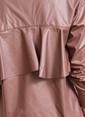 People By Fabrika Sırtı Volanlı Kaplamalı Gömlek Taş